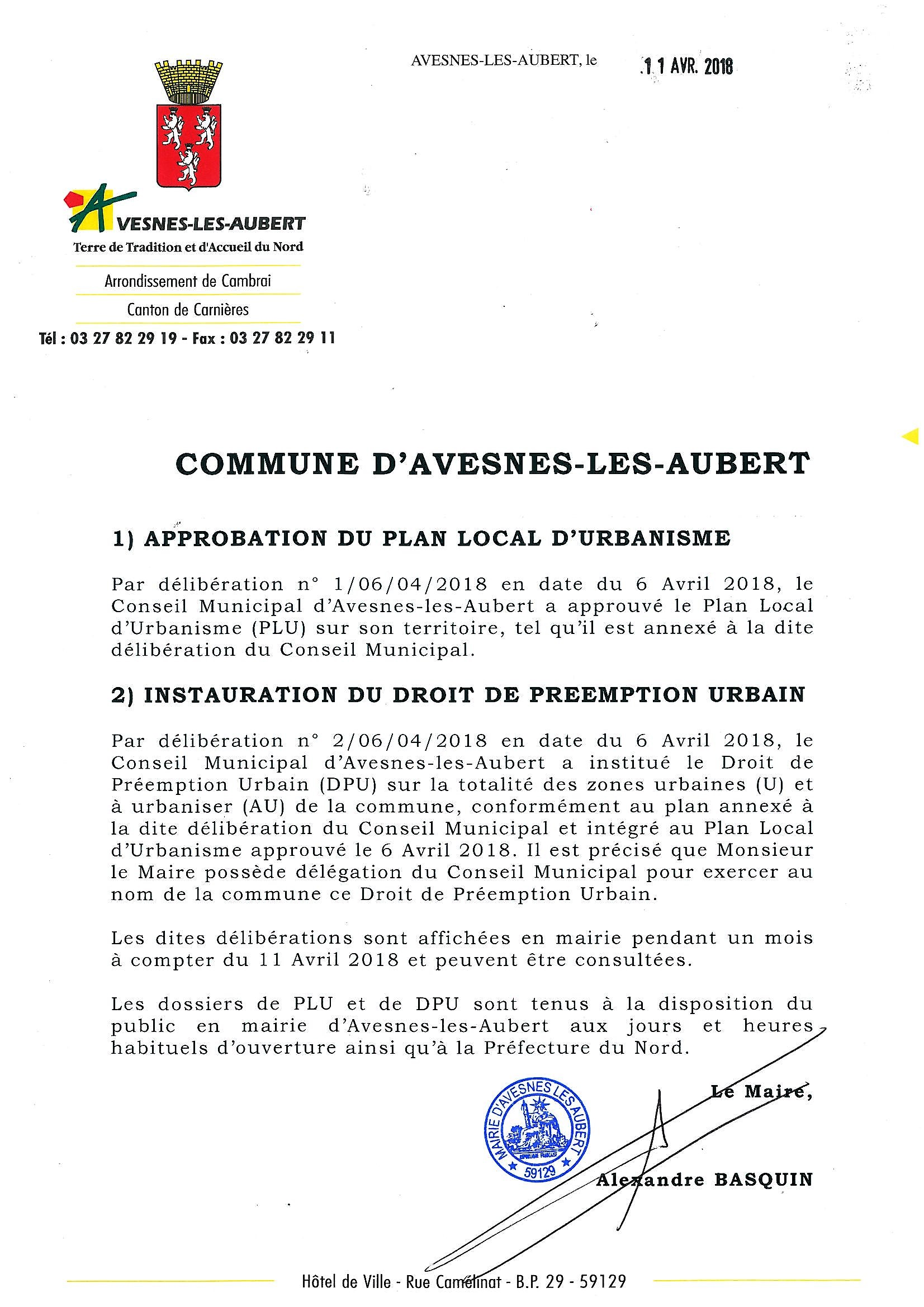 INSTAURATION DROIT DE PREEMPTION URBAIN VISEE